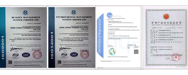 certificate of UHMWPE Food Grade Hose